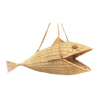 MCM Hanging Wicker Fish Basket For Sale