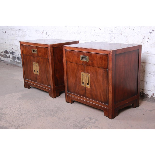 A gorgeous pair of Hollywood Regency Chinoiserie nightstands from the Dynasty Collection by Drexel Heritage. The...