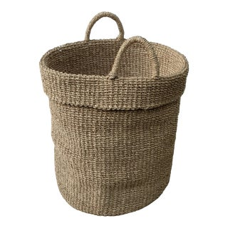Oversized Hamptons Style Woven Basket For Sale
