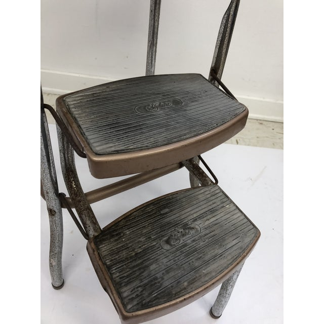 Fantastic Vintage Mid Century Brown Metal Step Stool By Cosco Pabps2019 Chair Design Images Pabps2019Com