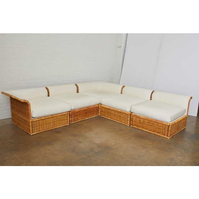 Michael Taylor Style Rattan Wicker Sectional Sofa For Sale - Image 11 of 13