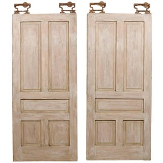 Early 20th Century American Painted Wood Pocket Doors - a Pair For Sale