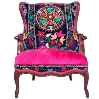 """Vintage """"La Bohemia"""" Multicolor Pink Velvet Wingback Arm Chair"""