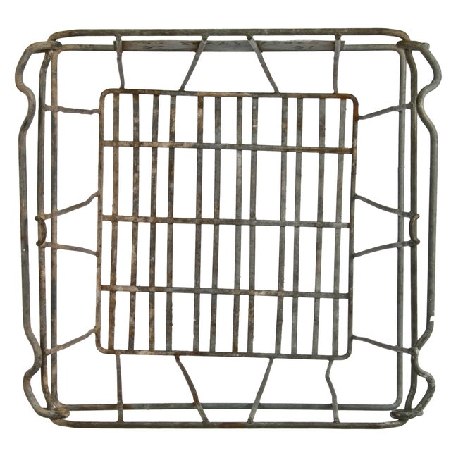 Industrial Vintage Tall Galvanized Wire Stackable Egg Crate For Sale - Image 3 of 3