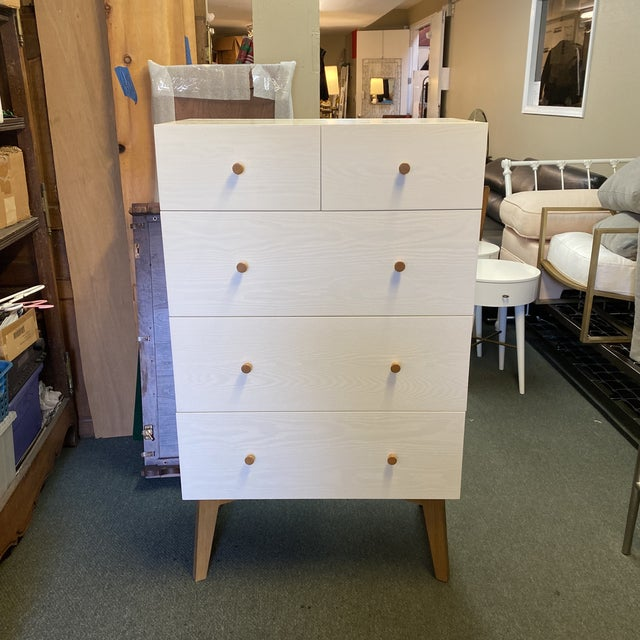 West Elm Mid-20th Century Style Tallboy Dresser For Sale - Image 13 of 13