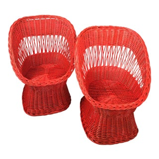 1970's Vintage Red Wicker Chairs- a Pair For Sale