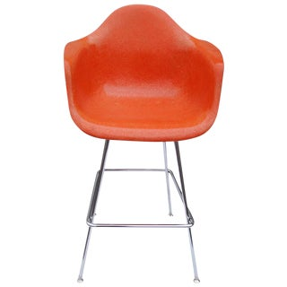 1 Midcentury Eames Herman Miller Fiberglass Arm Shell Chair Stool For Sale