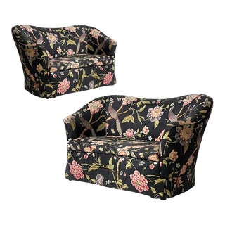 Stunning Pair of Sculptural Curved Settees Love Seats W Whimsical Floral Chintz With Birds For Sale