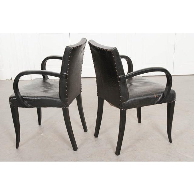 Animal Skin French 20th Century Art Deco Ebony Armchairs - a Pair For Sale - Image 7 of 10