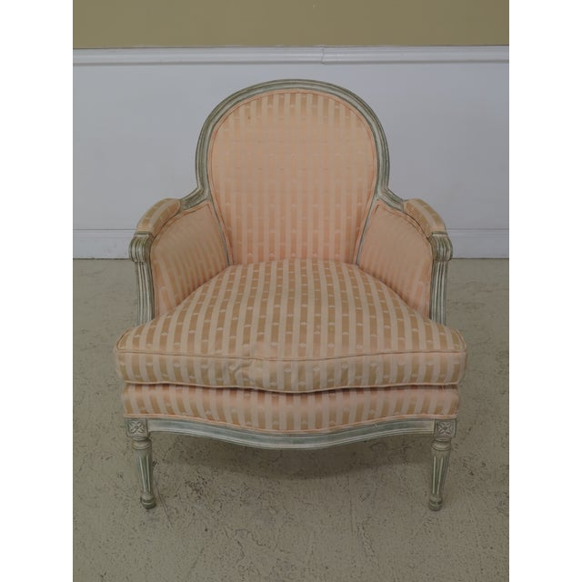 1980s Vintage French Louis XV Style Paint Decorated Bergere Chair For Sale - Image 12 of 12