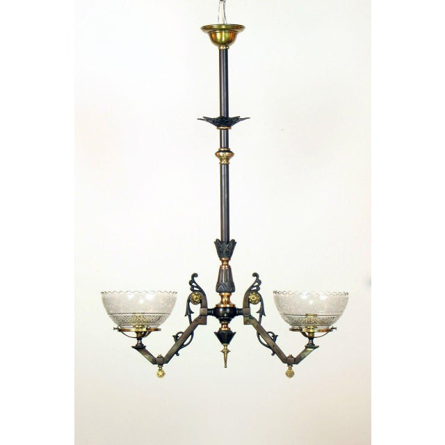 Two light gas chandelier with original glass and restored mixed metal finish. Ready to Hang.