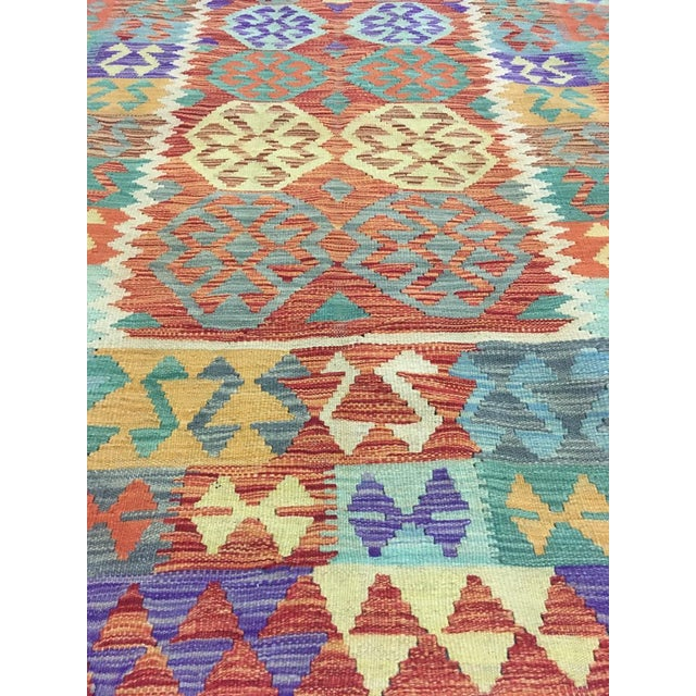 """Traditional Hand Knotted Traditional Design Uzbek Wool Kilim. 4'11"""" X 6'5"""" For Sale - Image 3 of 7"""
