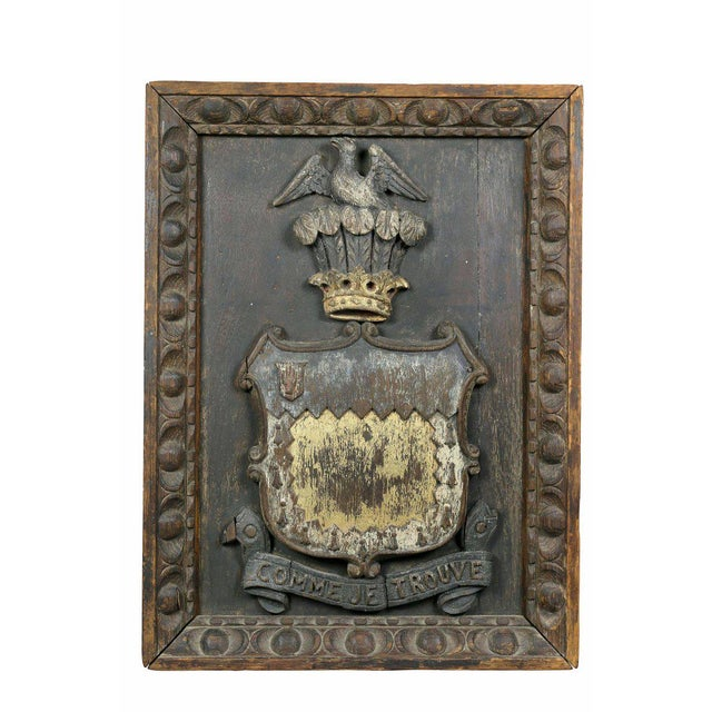 Early 19th Century Two European Carved and Painted Oak Coats of Arms For Sale - Image 5 of 9