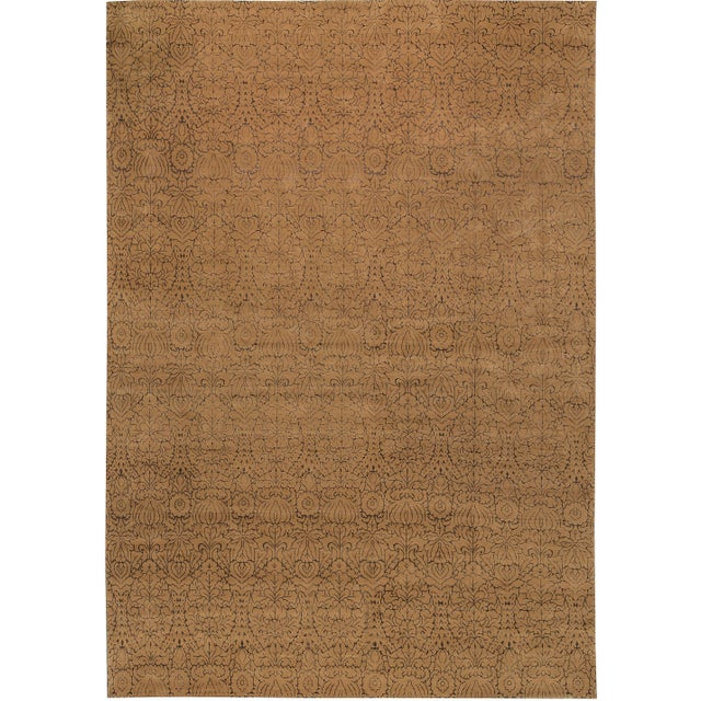 Contemporary Hand Woven Gold Silk & Wool Rug - 12' X 18' - Image 4 of 4
