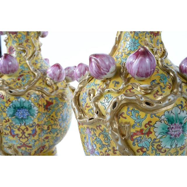 Chinese Famille Yellow & Pink Vases - A Pair - Image 3 of 9