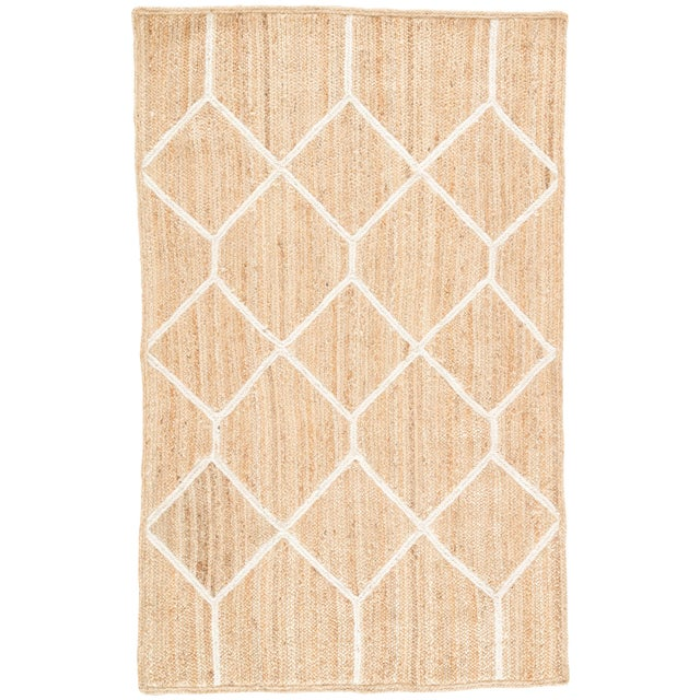 Nikki Chu by Jaipur Living Aten Natural Trellis Beige & White Area Rug - 5' X 8' For Sale In Atlanta - Image 6 of 6