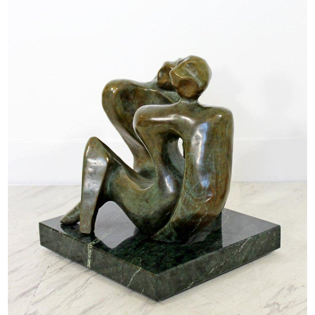 For your consideration is a magnificent, bronze table sculpture of two reclining women, on a green marble base, by Jean...