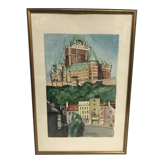 Vintage Chateau Watercolor Painting