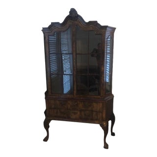 Antique English Walnut Dutch Style Display Cabinet For Sale