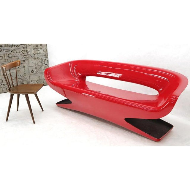 Red Molded Fiberglass Bench Love Seat For Sale - Image 9 of 11