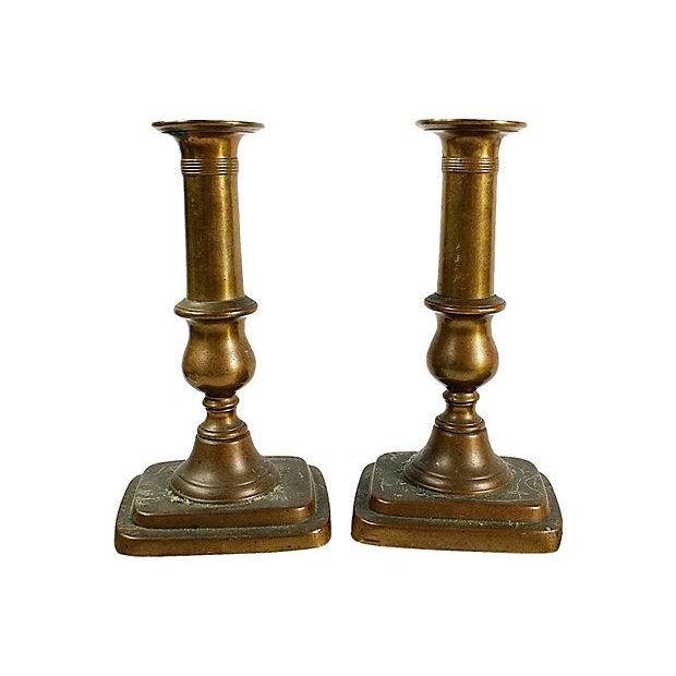 Antique Brass Candlesticks - A Pair For Sale