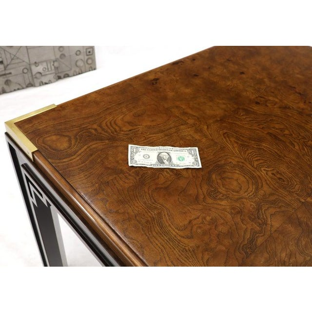 Mid-Century Modern Large Burlwood Dining Table With Brass Accents and Two Extension Leaves Boards For Sale - Image 3 of 11