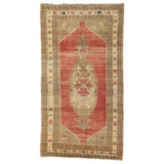 20th Century Rustic Style Turkish Oushak Area Rug - 6′5″ × 11′9″ For Sale