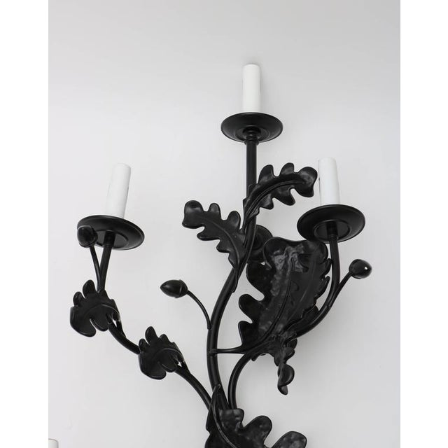Pair of Five-Light Wall Sconces in Black with Acorn Leaf Motif - Image 5 of 9