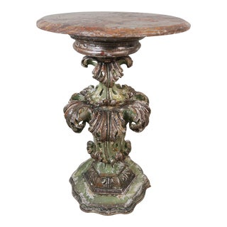 19th C. Acanthus Leaf Side Table W/ Marble Top