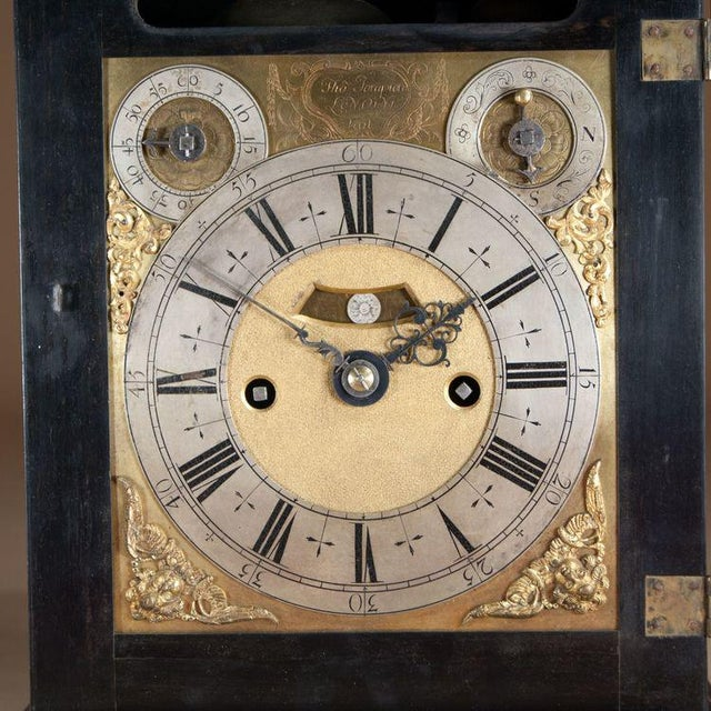 English Traditional Charles II Ebony Table Clock by Thomas Tompion For Sale - Image 3 of 6