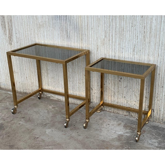 1950s Nesting Tables Italian Design 1970 in Brass With Smoked Glass and Wheels - a Pair For Sale - Image 5 of 11