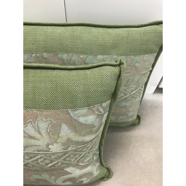Traditional Fortuny Green Pillows - a Pair For Sale - Image 3 of 5