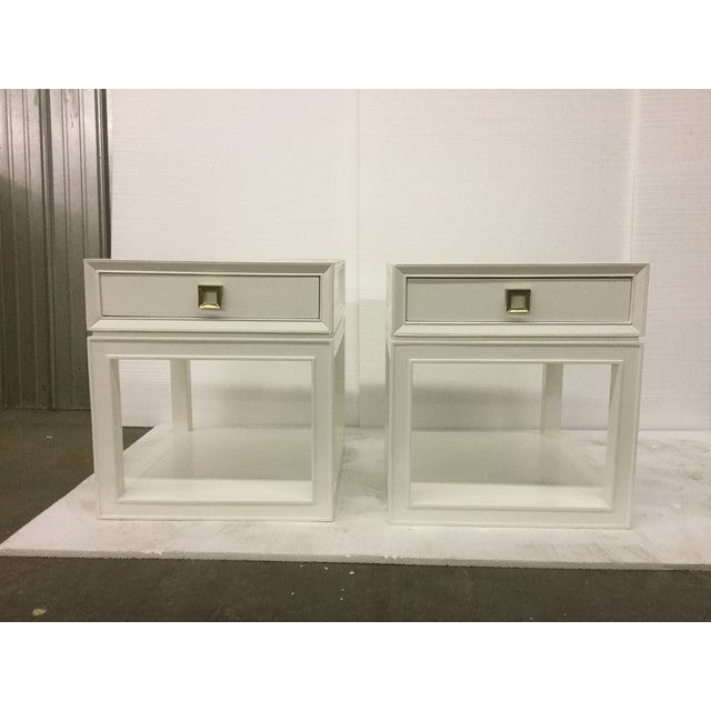 Malibu Loft White & Brass Side Tables - A Pair - Image 2 of 5