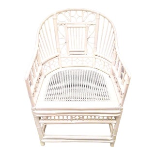 Palm Beach Regency Brighton Pavilion White Bamboo Side Chair For Sale