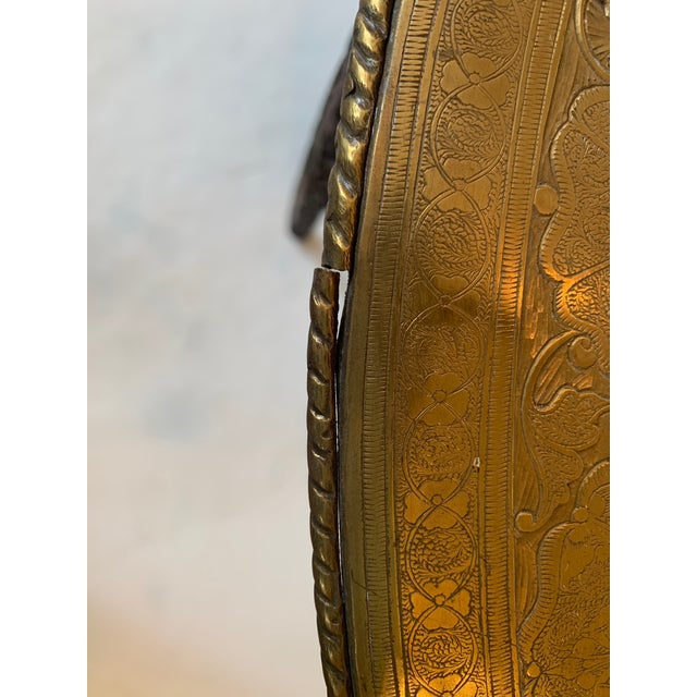 Metal Round Moroccan Tray End Table For Sale - Image 7 of 13