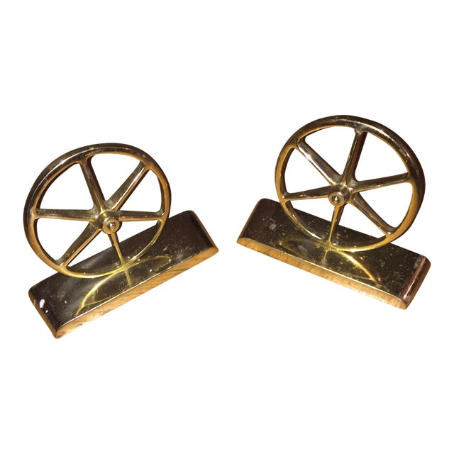 Mid-Century Brass Bookends - Image 1 of 4