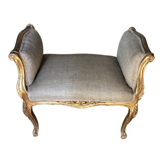 1970s Vintage Burlap and Gilded French Rococo Bench For Sale