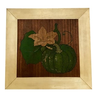 Early 20th Century Japanese Temple Wooden Ceiling Tile Pumpkin Painting For Sale