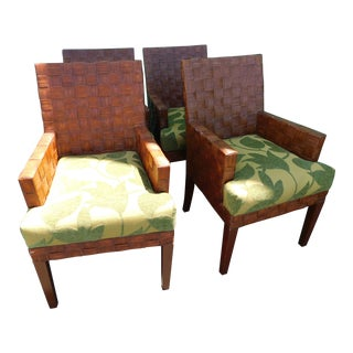 Palecek Weave Arm Chairs - Set of 4 For Sale