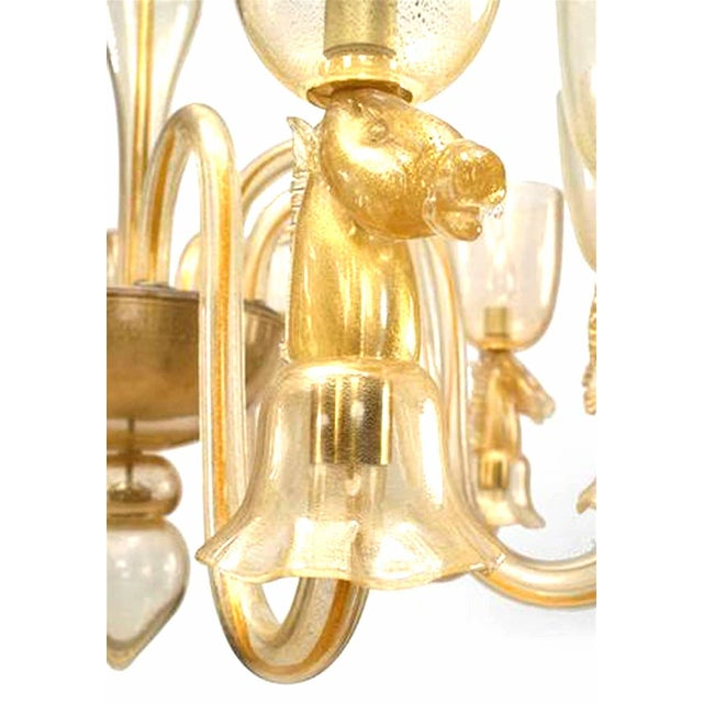 Art Deco 1940's Italian Gold-Dusted Murano Glass Chandelier Attributed to Seguso For Sale - Image 3 of 6