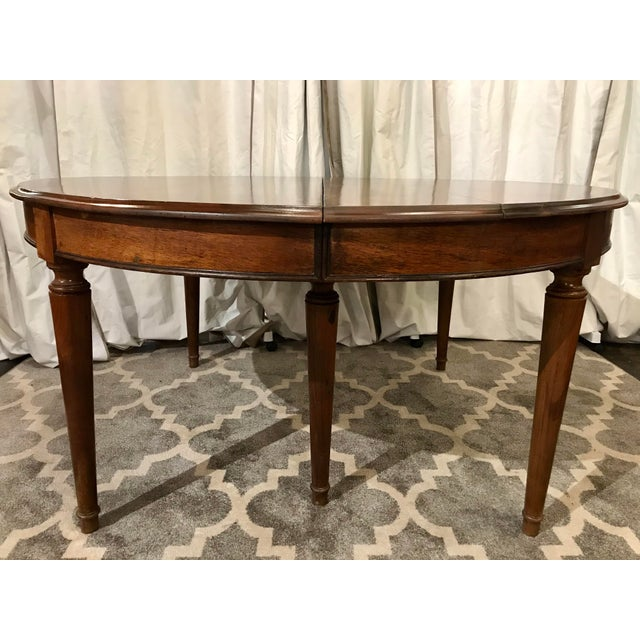 French Country Louis Philippe Round Walnut Table With Leaves For Sale - Image 3 of 6