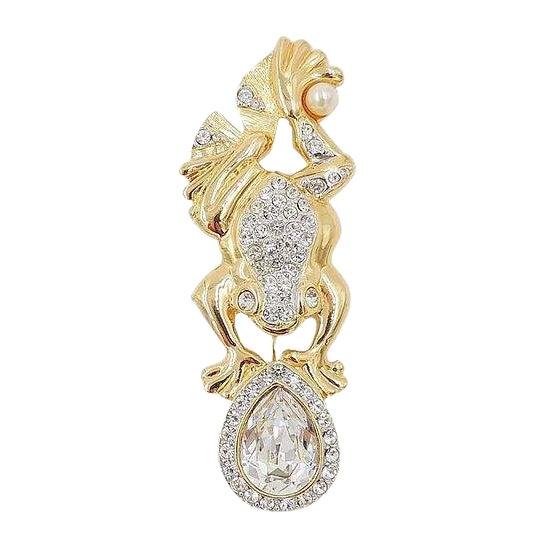 1980s Valentino Pavé Rhinestone Frog Pin For Sale