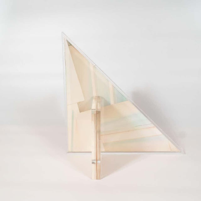 Pink Mid-Century Modern Polychromatic Cast Acrylic Sculpture by Norman Mercer For Sale - Image 8 of 12
