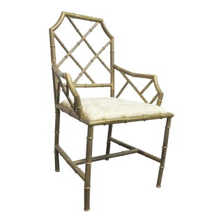 Italian Brass Faux Bamboo Arm Chair For Sale
