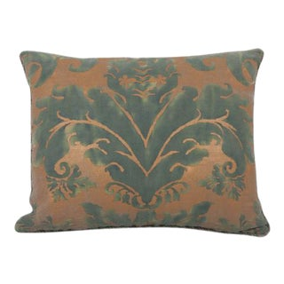 Pillow of Fortuny Fabric With Leather Backing For Sale