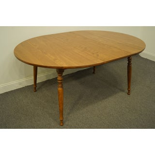 "20th Century Traditional Ethan Allen Heirloom Nutmeg Maple 29"" Round Drop Leaf Dining Table Preview"