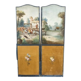 Antique 19th Century Hand-Painted Castle Wall Panels - A Pair
