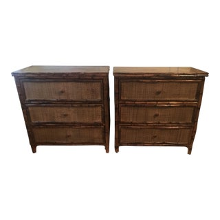 British Colonial Style Rattan Bamboo Nightstands - a Pair For Sale