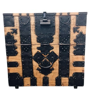 Antique Korean Bandaji Blanket Chest With Swallows