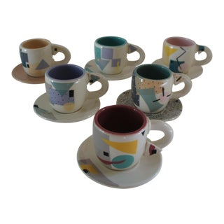 Rita Duvall Memphis Style Art Pottery Tea Service - Set of 6